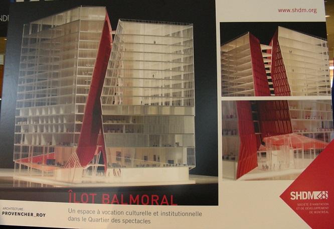 Édifice de l'îlot Balmoral tel que présenté à l'exposition Montréal du Futur, en 2014, et actuellement en construction