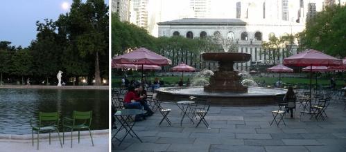 Chaises publiques Paris et New York